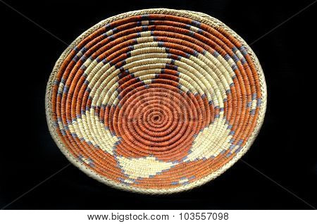 Native American Indian Basket on a Black Background