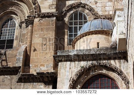 Architecture Detail On The Church Of The Holy Sepulchre In Jerusalem