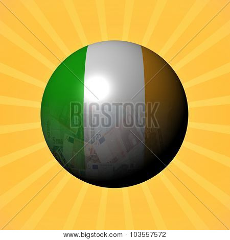 Ireland flag euros sphere on sunburst illustration