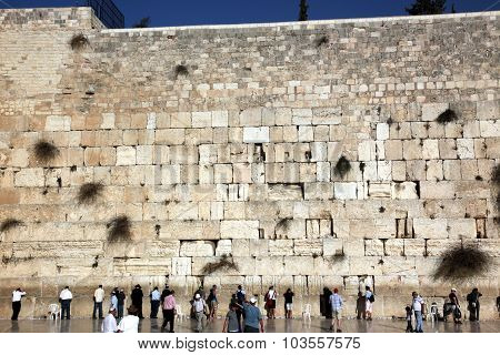 Jerusalem, Israel - October 28: People At The Wailing Wall Where