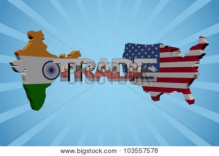 American and Indian map flags with trade text illustration