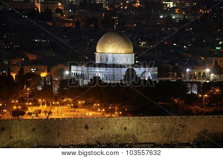 Classic Night View Of Temple Mount With Dome Of The Rock And Old City From The Mt Of Olives In Jerus