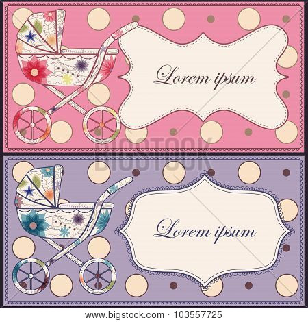 Vector vintage set of cards with baby carriages