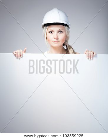 Young Builder Craftswoman Construction Worker, Empty Banner