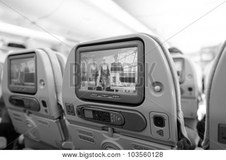 DUBAI - DECEMBER 10: Emirates Airbus A380 aircraft interior on December 10, 2014 in Dubai, UAE. Emirates handles major part of passenger traffic and aircraft movements at the airport.
