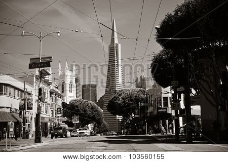 San Francisco, CA - MAY 11: Downtown Street view with the Pyramid on May 11, 2014 in San Francisco. It is the most densely settled large city in California and the second-most in US.