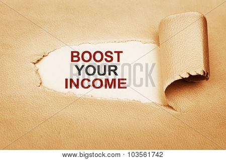 Boost Your Income Behind Torn Paper