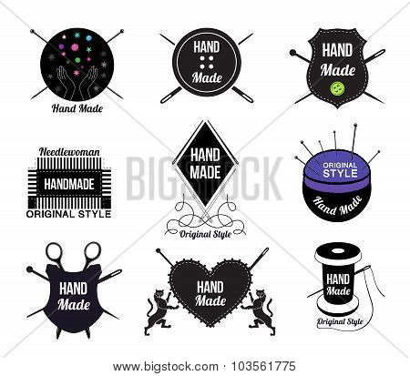 Set of Hand made logo, labels and design elements.