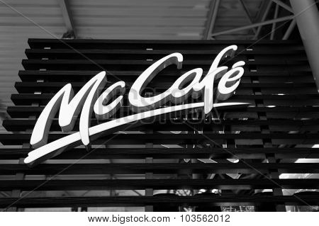 PRAGUE, CZECK REPUBLIC - AUGUST 16, 2015: McCafe logo. McCafe is a coffee-house-style food and drink chain, owned by McDonald's.States.