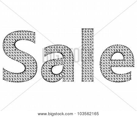 Vector illustration of sale. Molecular lattice. Structural mesh of polygons on a white background.