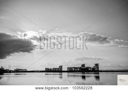 Black and White Photo of Sunset Marina