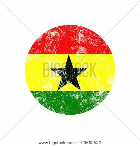 Illustration Vector Grunge Stamp Round Flag Of Ghana Country.