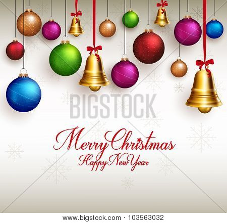 3D Realistic Merry Christmas Greetings with Hanging