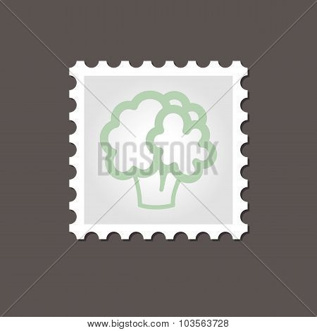 Cauliflower stamp. Outline vector illustration