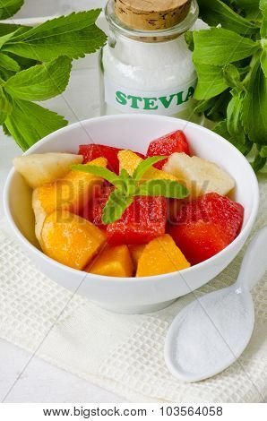 Fruit Salad And Stevia Powder. Natural Sweetener.