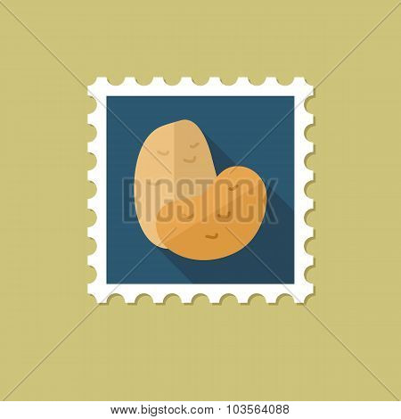 Potato flat stamp with long shadow