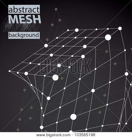 Vector Digital 3D Abstraction, Lattice Geometric Square Template, Perspective Chaotic Wireframe