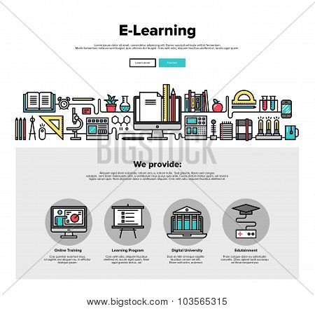 E-learning Flat Line Web Graphics