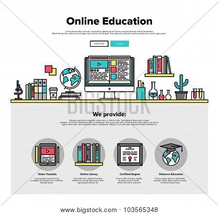 Online Education Flat Line Web Graphics