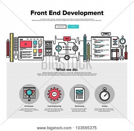 Front End Development Flat Line Web Graphics