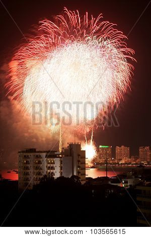 Fireworks Exploding At Pattaya