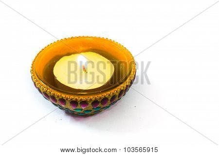 Diya lamp isolated on white