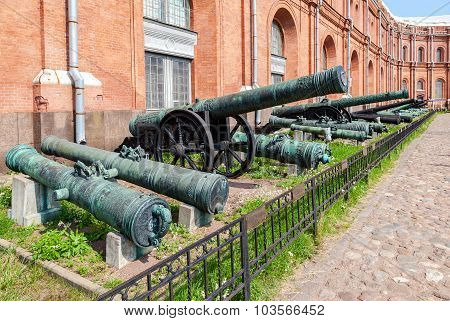 Ancient Bronze Cannons In Museum Of Artillery  In St. Petersburg, Russia