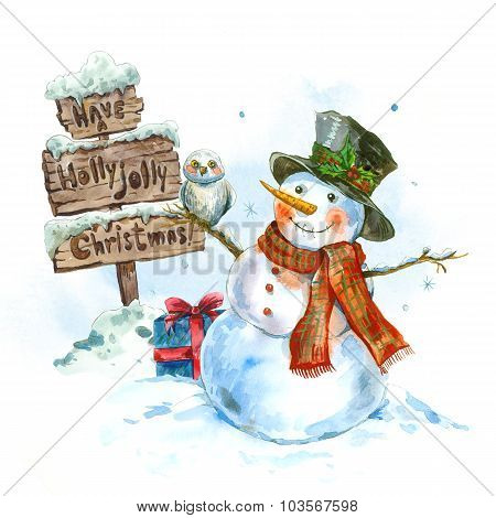 Watercolor greeting card with snowman