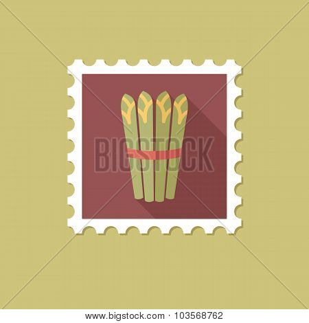 Asparagus flat stamp with long shadow