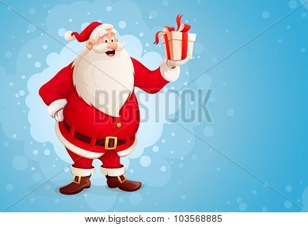 Merry Santa Claus holds Christmas gift in box. vector illustration. Transparent objects used for lights and shadows drawing.