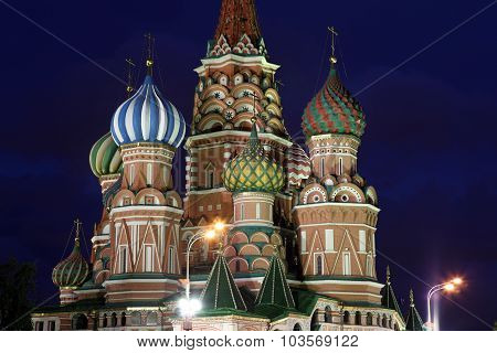 Dome Of Intercession Cathedral St. Basil's On Red Square In Moscow, Russia