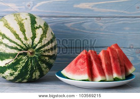 A Plate Of Water Melon Pieces