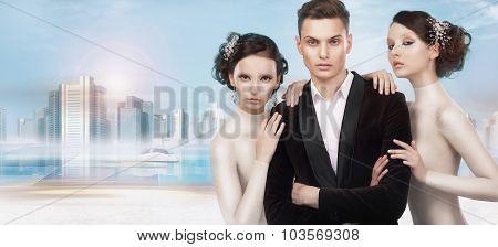 Fashionable People Over Futuristic Background