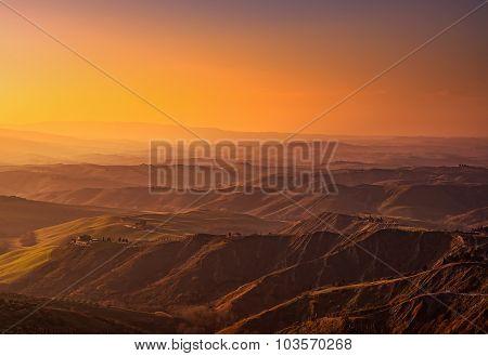 Tuscany, Volterra Le Balze Rural Landscape On Sunset. Italy
