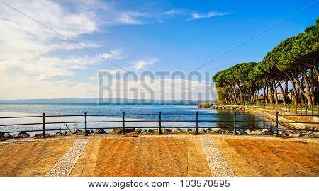 Terrace, Promenade And Pine Trees In Bolsena Lake, Italy.