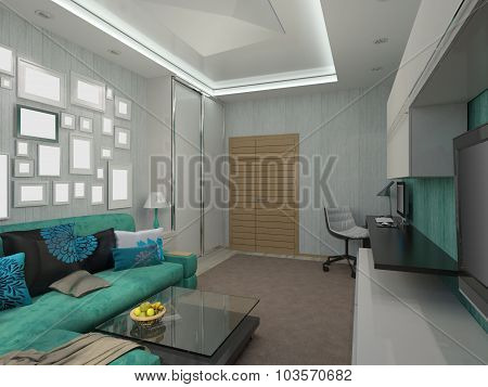 3D Illustration Of A Living Room In A Turquoise Color