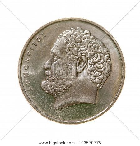 Coin Ten Drachmas Greece Isolated On White Background. Top View.