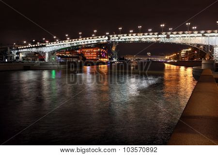 Beautiful Night View Moskva River With Patriarch Bridge In The Summer, Moscow , Russia