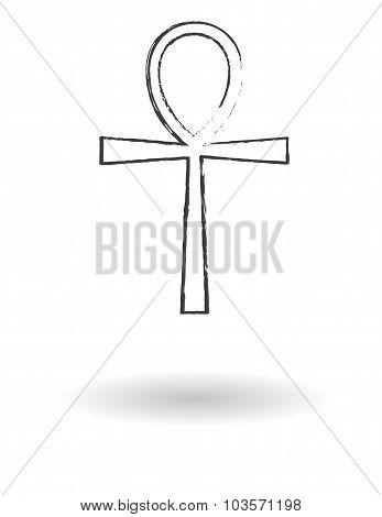 Ankh Cross Pencil Drawing