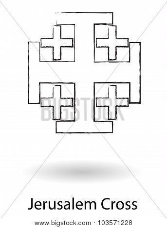 Jerusalem Cross Pencil Drawing