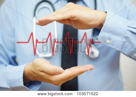 Cardiologist Is Protecting With Hand Heart Bit Line