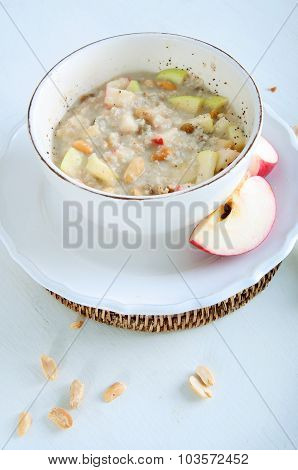 Oatmeal With Fresh Apples; Peanuts And Raisins