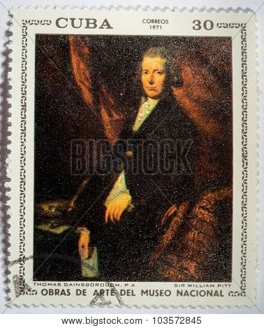 Moscow, Russia - October 3, 2015: A Stamp Printed By Cuba Shows A Picture Of Artist F. Zurbaran P. A