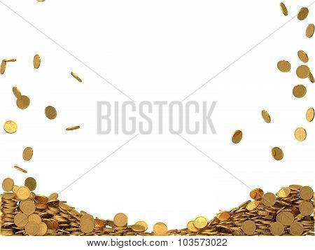 rounded golden coins with dollar symbol. isolated on white background.