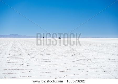 Uyuni Salt Flat On The Bolivian Andes At Sunrise