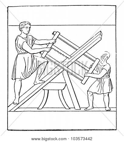 Carpenters, vintage engraved illustration.