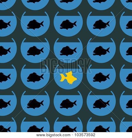 Goldfish In Flock Piranha Seamless Pattern. Not Like Other. Different From Other, You Have Your Opin