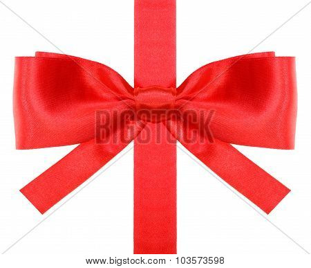 Red Bow With Square Cut Ends On Vertical Ribbon