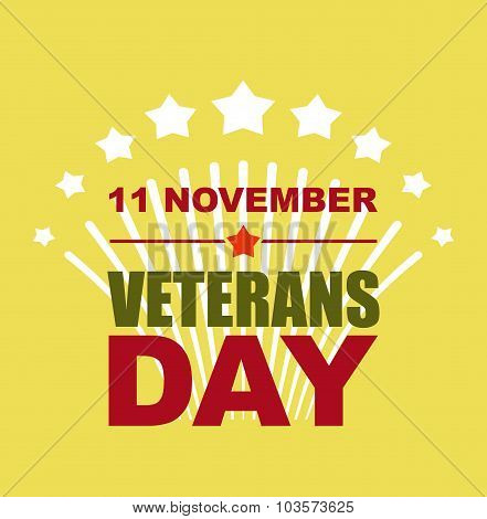 Veterans Day November 11. Salute To American Heroes. Vector Illustration Of Patriotic National Holid