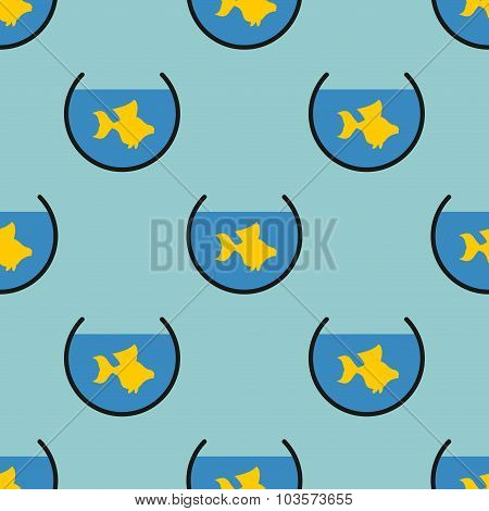 Goldfish In An Aquarium Seamless Pattern. Vector Background Of Domestic Fish. Texture For Childrens